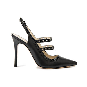 Profile of Angelina black leather heel with two studded straps across foot and sling back