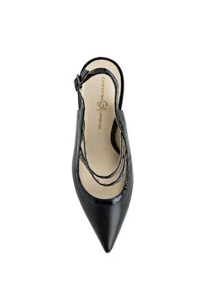 Top view of black leather Angelina sling back heel with nude sole and pointed toe shape