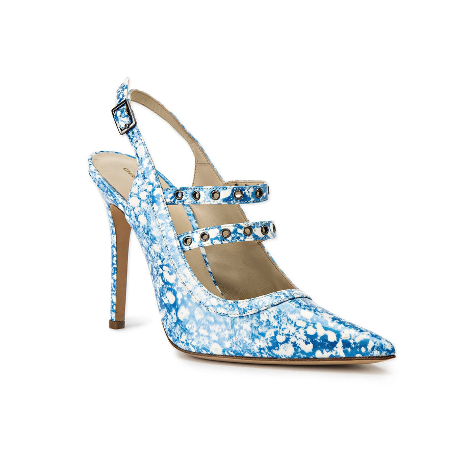 Profile of Angelina blue eponge patent heel with two studded straps across foot and sling back