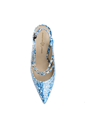 Top view of blue eponge patent Angelina sling back heel with nude sole and pointed toe shape