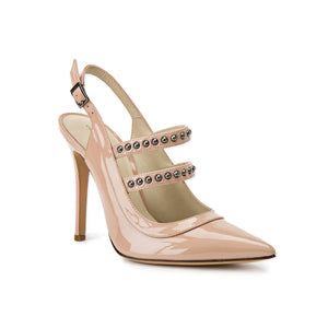 Angelina nude patent sling back heel with two studded straps across foot and pointed toe shape