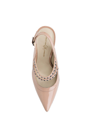 Top view of nude patent Angelina sling back heel with nude sole and pointed toe shape
