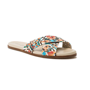 Aria maiolica tile slide sandal with hardware eyelet accents across thick criss-cross straps