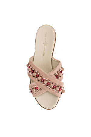 Top view Aria nude pony hair slide sandal with custom hardware along criss-cross straps over foot
