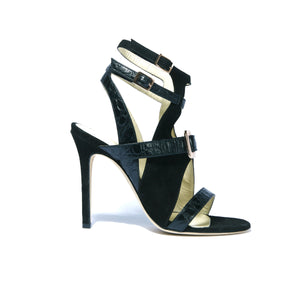 Mary Jo black suede and patent leather open toe strappy heel with rose gold buckle accent on upper