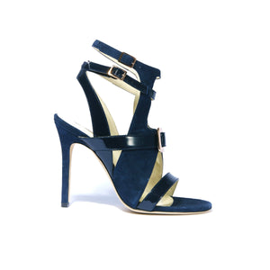 Mary Jo navy suede and patent leather open toe strappy heel with rose gold buckle accent on upper