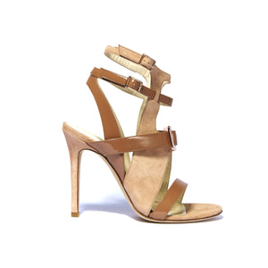 Mary Jo nude suede and patent leather open toe strappy heel with rose gold buckle accent on upper