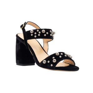 Front angle of Emilia black velvet, chunky heel sandal. Two straps across the foot with gray pearls