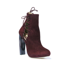 Front angle of Crawford Bacco Suede boot with horn stacked heel and platform with side lace up