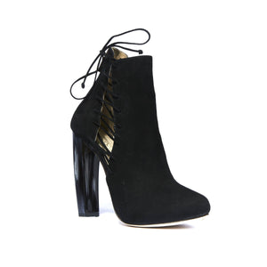 Front angle of Crawford Black Suede boot with horn stacked heel and platform with side lace up