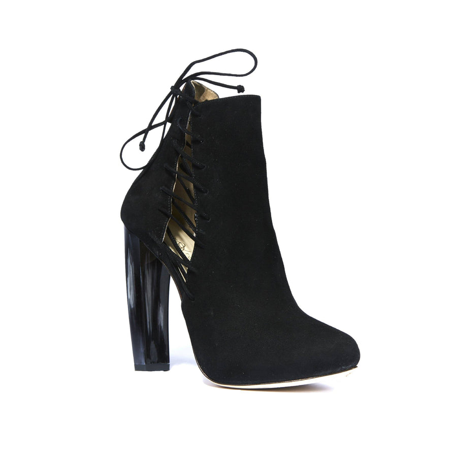 Side of Crawford Black Suede boot with complimentary neutral tone horn heel and side lace up accent