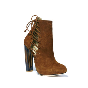 Front angle of Crawford Falcone Suede boot with horn stacked heel and platform with side lace up