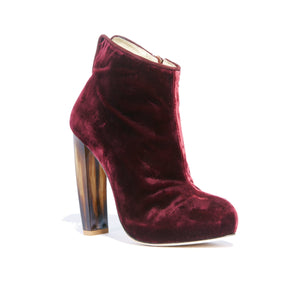 Elizabeth bacco velvet ankle boot with neutral tone horn stacked heel and platform with side zipper