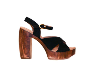 Profile view of Havana retro platform sandals in black suede with wooden heel