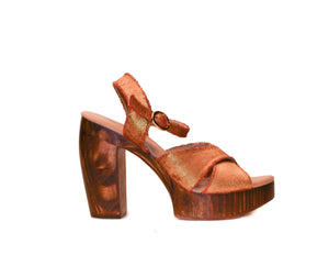 Profile view of Havana retro platform sandals in soft metallic gold fabric with wooden heel