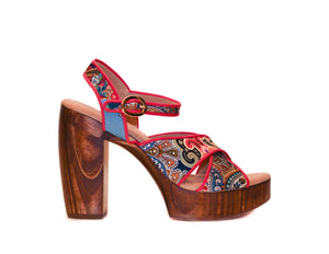 Profile view of Havana retro platform sandals in red-patterned silk with wooden heel