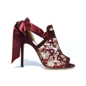 Profile of Gabriella bacco suede heel with full top embroidered nude mesh and silk ribbon tie back