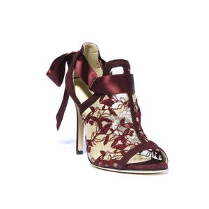 Gabriella bacco suede heel with full top embroidered nude mesh with an open toe and ribbon tie back