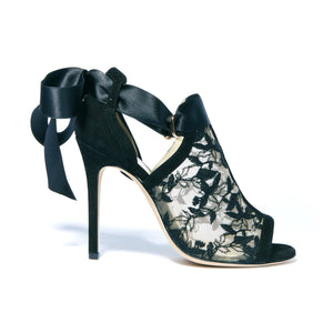 Profile of Gabriella black suede heel with full top embroidered nude mesh and silk ribbon tie back