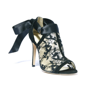 Gabriella black suede heel with full top embroidered nude mesh with an open toe and ribbon tie back