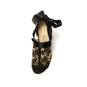Top of black suede Gabriella heel with full top embroidered nude mesh with a nude sole and open toe