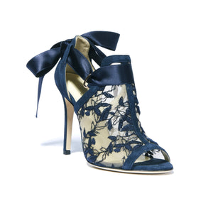 Gabriella navy suede heel with full top embroidered nude mesh with an open toe and ribbon tie back