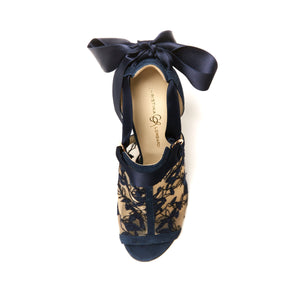 Top of navy suede Gabriella heel with full top embroidered nude mesh with a nude sole and open toe