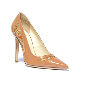 Geraldine nude patent heel with embroidered mesh cut outs along side and top of foot and pointed toe