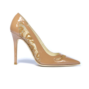 Profile of Geraldine nude patent heel with embroidered mesh cut outs along the side and top of foot