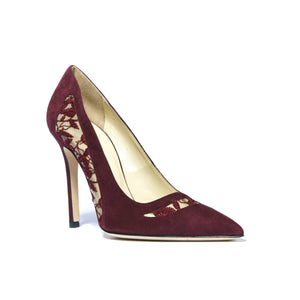 Geraldine bacco suede heel with embroidered mesh cut outs along side and top of foot and pointed toe