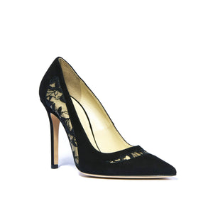 Geraldine black suede heel with embroidered mesh cut outs along side and top of foot and pointed toe
