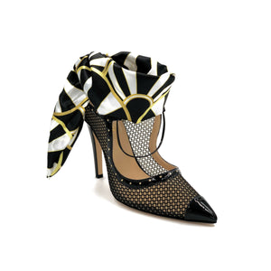 Black Patent Harlyn mesh heel with black, white, yellow silk scarf ankle wrap and pointed toe shape