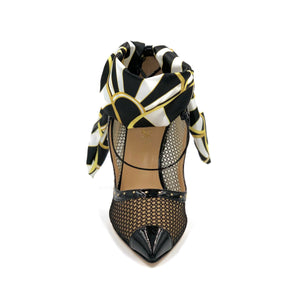 Front of Black Patent Harlyn mesh heel with open upper, silk scarf ankle wrap and pointed toe