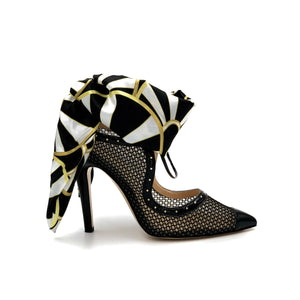 Profile of Black Patent Harlyn black mesh heel with black, white, yellow silk scarf ankle wrap