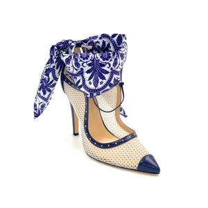 Navy caviar Harlyn white mesh heel with navy & white paisley silk scarf ankle wrap and pointed toe