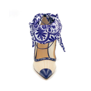 Navy caviar Harlyn mesh heel with open upper, silk paisley scarf ankle wrap and navy pointed toe