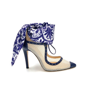 Profile of navy caviar Harlyn white mesh heel with blue and white paisley silk scarf ankle wrap