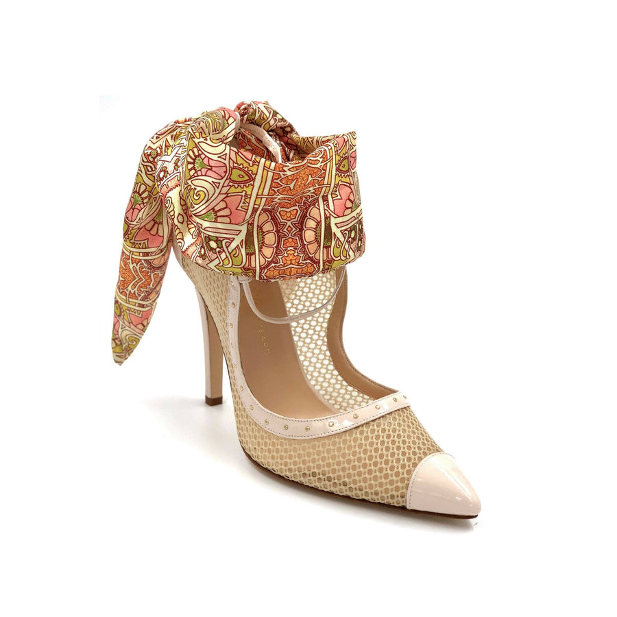 Profile of Nude Patent Harlyn nude mesh heel with pink & orange patterned silk scarf ankle wrap