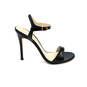 Profile of Heidi black patent open toe heel with strap across toes and around ankle
