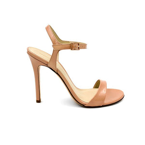 Profile of Heidi nude patent open toe heel with strap across toes and around ankle