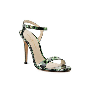 Heidi green leaf patent open toe heel with strap across toes and buckle clasp around ankle