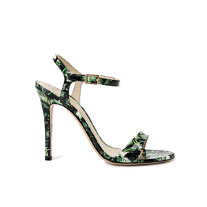 Profile of Heidi green leaf patent open toe heel with strap across toes and around ankle