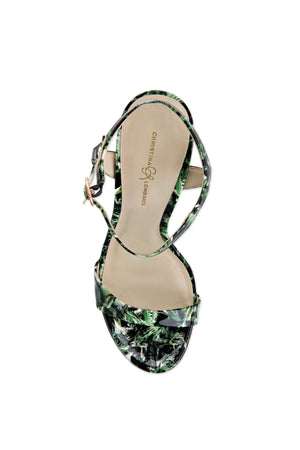Top of Heidi green leaf patent open toe heel with strap across toes and around ankle. Nude sole.