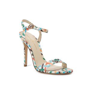 Heidi maiolica tile leather open toe heel with strap across toes and buckle clasp around ankle