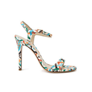 Profile of Heidi maiolica tile leather open toe heel with strap across toes and around ankle