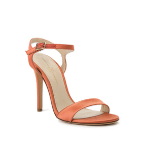 Heidi burnt pepper satin open toe heel with strap across toes and buckle clasp around ankle