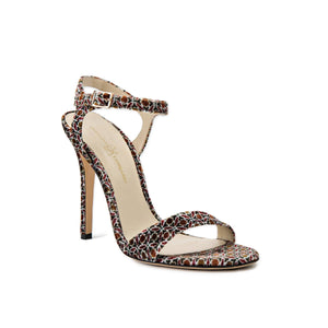 Heidi velluto ornamento velvet open toe heel with strap across toes and buckle clasp around ankle