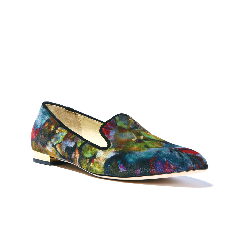Profile of floral miuccia velvet Kenzie loafer flat with almond toe shape and flat heel