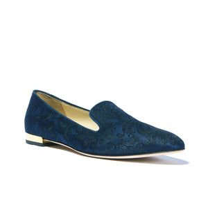 Navy jacquard Kenzie loafer flat with almond toe shape