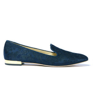 Profile of navy jacquard Kenzie loafer flat with almond toe shape and flat heel